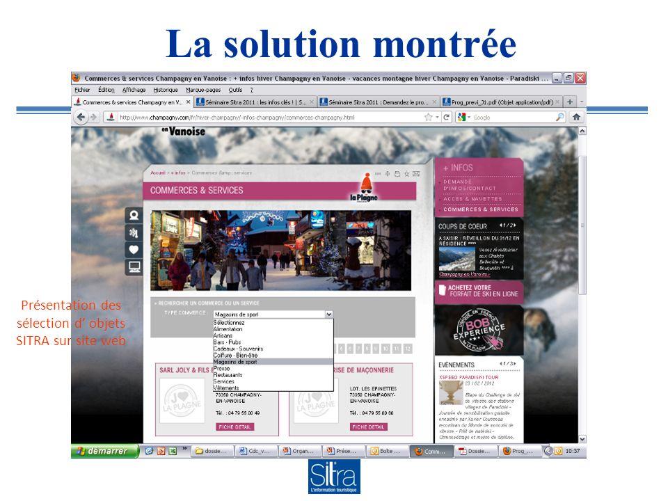 La solution montrée Présentation des sélection d objets SITRA sur site web