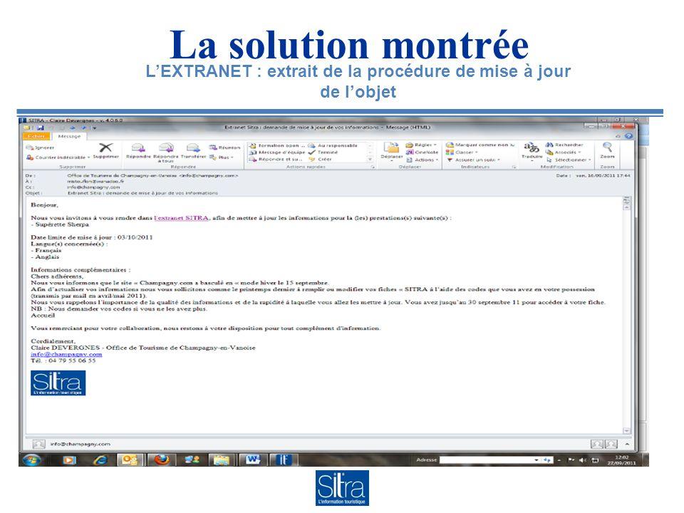 La solution montrée LEXTRANET : extrait de la procédure de mise à jour de lobjet