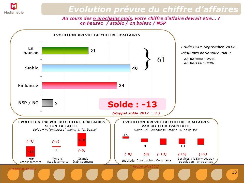 Solde : -13 Evolution prévue du chiffre daffaires EVOLUTION PREVUE DU CHIFFRE D AFFAIRES Au cours des 6 prochains mois, votre chiffre daffaire devrait être… .