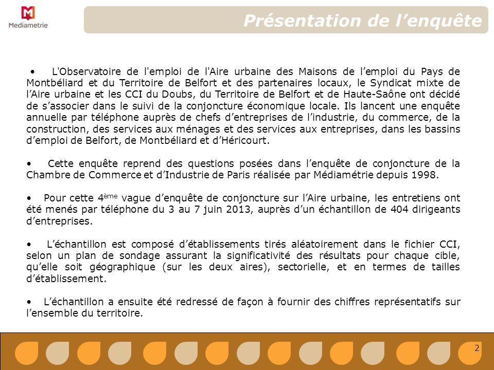 L Observatoire de l emploi de l Aire urbaine des Maisons de lemploi du Pays de Montbéliard et du Territoire de Belfort et des partenaires locaux, le Syndicat mixte de lAire urbaine et les CCI du Doubs, du Territoire de Belfort et de Haute-Saône ont décidé de sassocier dans le suivi de la conjoncture économique locale.