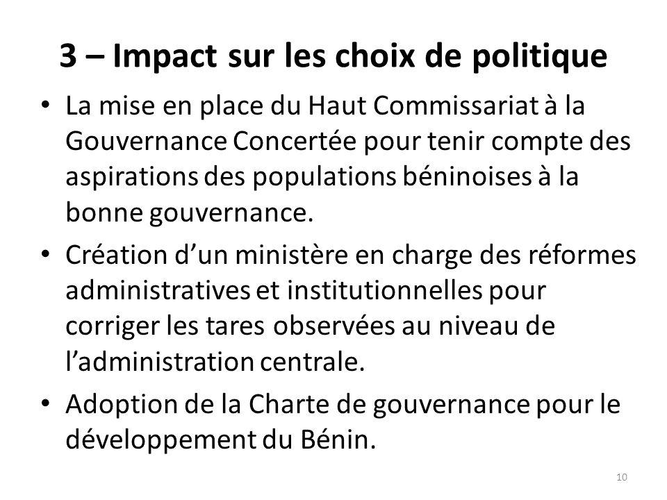 3 – Impact sur les choix de politique La mise en place du Haut Commissariat à la Gouvernance Concertée pour tenir compte des aspirations des populatio