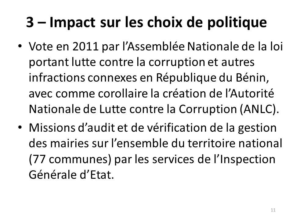 3 – Impact sur les choix de politique Vote en 2011 par lAssemblée Nationale de la loi portant lutte contre la corruption et autres infractions connexe