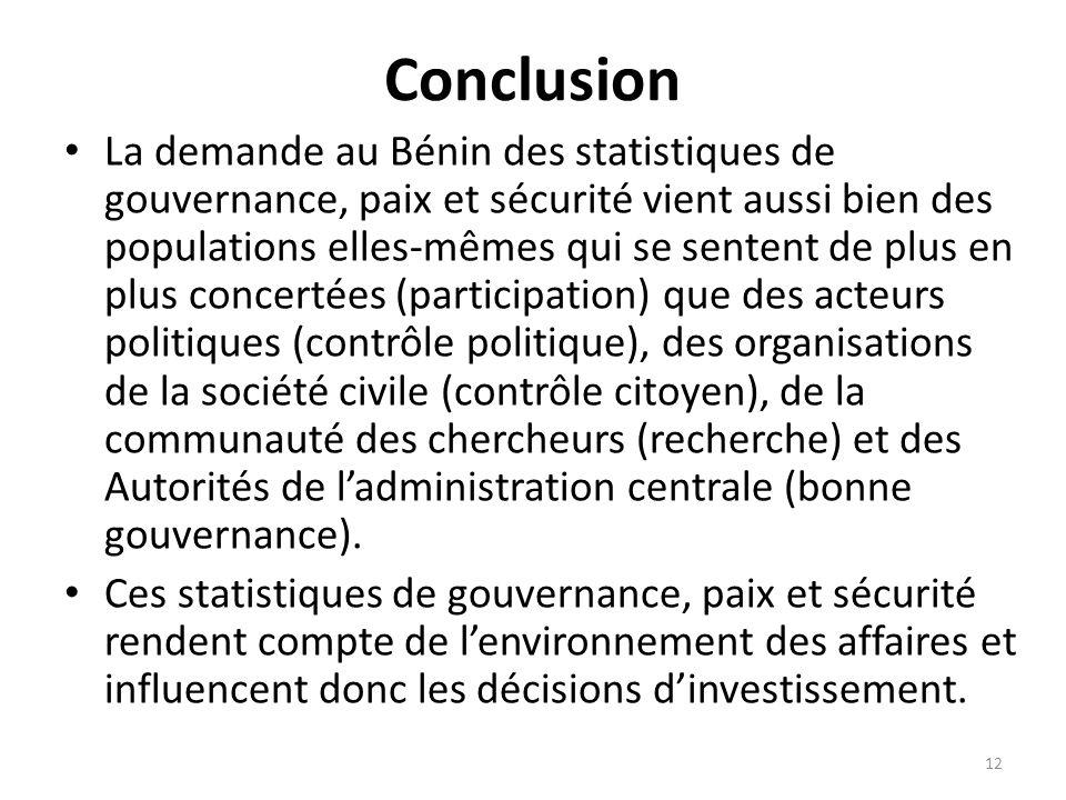 Conclusion La demande au Bénin des statistiques de gouvernance, paix et sécurité vient aussi bien des populations elles-mêmes qui se sentent de plus e
