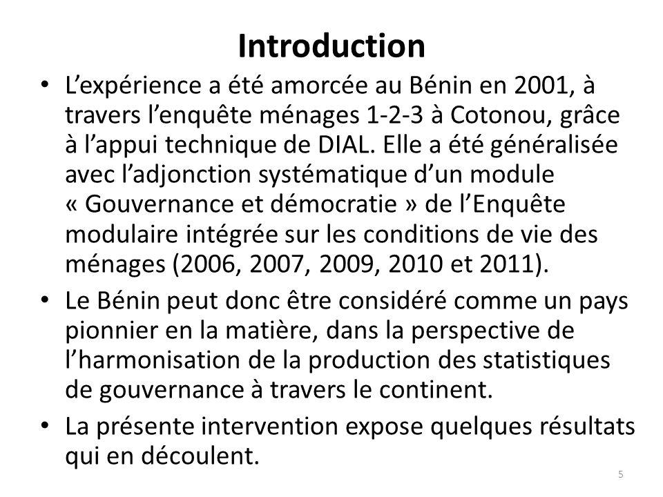 Introduction Lexpérience a été amorcée au Bénin en 2001, à travers lenquête ménages 1-2-3 à Cotonou, grâce à lappui technique de DIAL. Elle a été géné