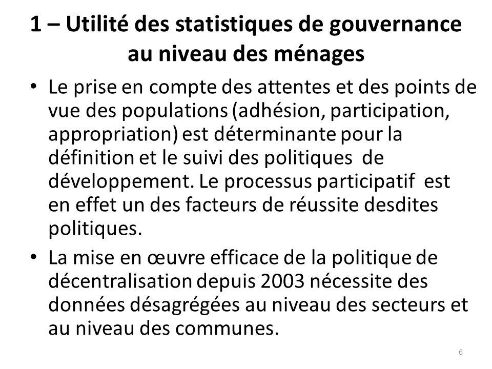 1 – Utilité des statistiques de gouvernance au niveau des ménages Le prise en compte des attentes et des points de vue des populations (adhésion, part