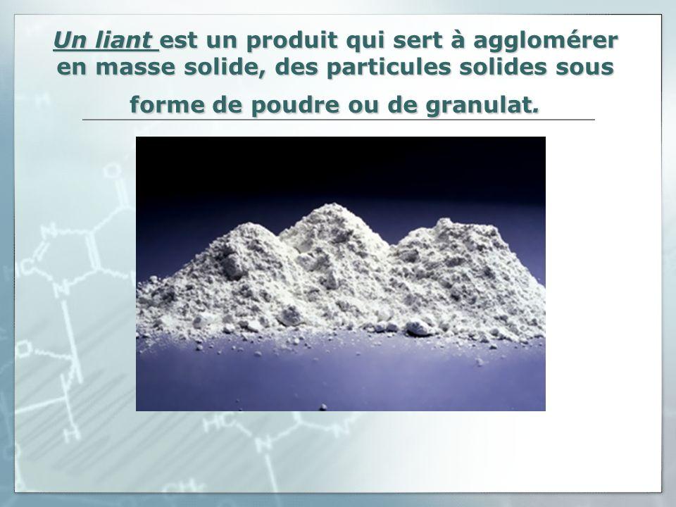 Un liant est un produit qui sert à agglomérer en masse solide, des particules solides sous forme de poudre ou de granulat.