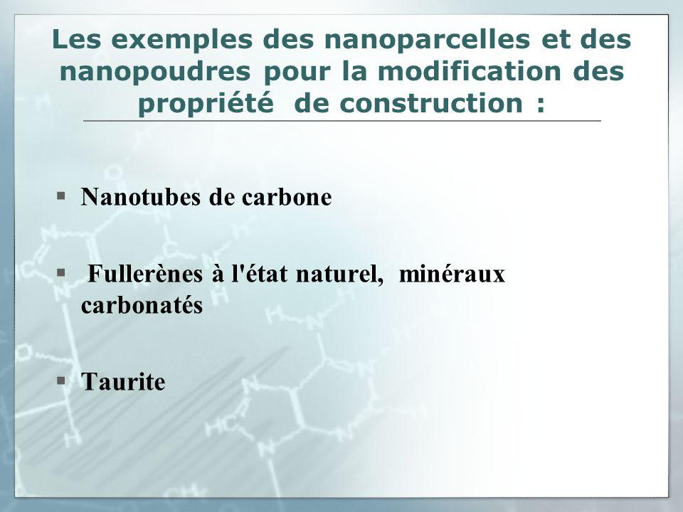 Les exemples des nanoparcelles et des nanopoudres pour la modification des propriété de construction : Nanotubes de carbone Fullerènes à l'état nature