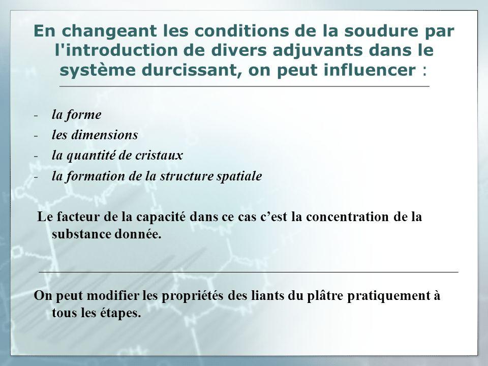 En changeant les conditions de la soudure par l'introduction de divers adjuvants dans le système durcissant, on peut influencer : -la forme -les dimen