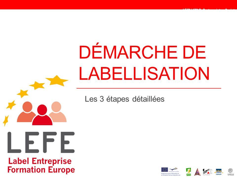 DÉMARCHE DE LABELLISATION Les 3 étapes détaillées LEONARDO Partenariat – Projet 2010-1-FR1 – LEO04 - 14413