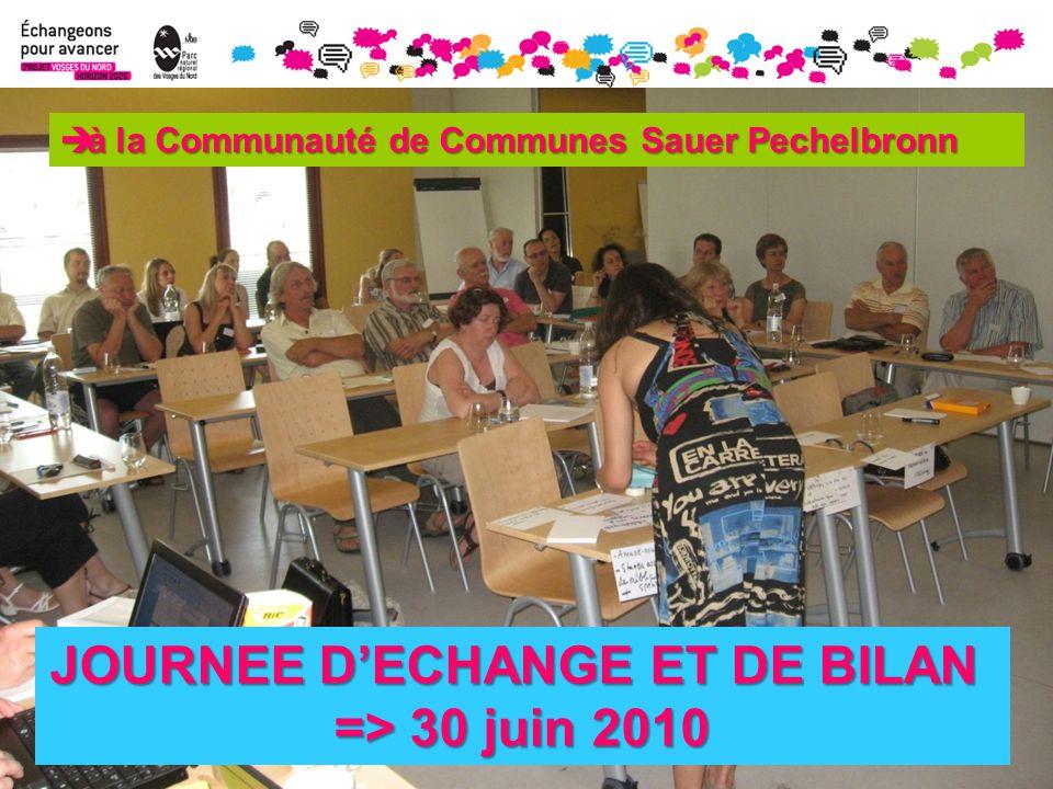 JOURNEE DECHANGE ET DE BILAN => 30 juin 2010 à la Communauté de Communes Sauer Pechelbronn à la Communauté de Communes Sauer Pechelbronn