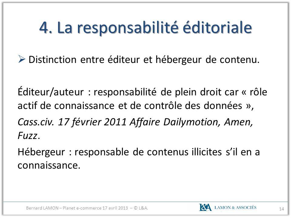 4. La responsabilité éditoriale Distinction entre éditeur et hébergeur de contenu. Éditeur/auteur : responsabilité de plein droit car « rôle actif de