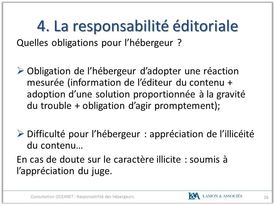 4. La responsabilité éditoriale Quelles obligations pour lhébergeur ? Obligation de lhébergeur dadopter une réaction mesurée (information de léditeur