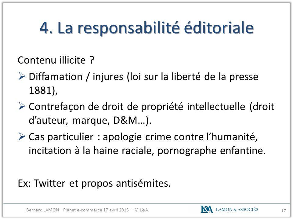 4. La responsabilité éditoriale Contenu illicite ? Diffamation / injures (loi sur la liberté de la presse 1881), Contrefaçon de droit de propriété int