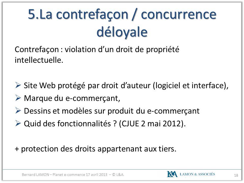 5.La contrefaçon / concurrence déloyale Contrefaçon : violation dun droit de propriété intellectuelle. Site Web protégé par droit dauteur (logiciel et