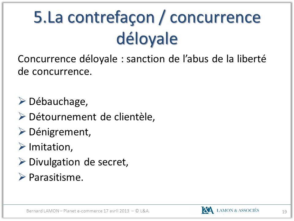5.La contrefaçon / concurrence déloyale Concurrence déloyale : sanction de labus de la liberté de concurrence. Débauchage, Détournement de clientèle,
