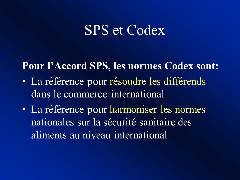 SPS et Codex LAccord SPS invite les Etats à harmoniser leurs normes nationales avec les normes internationales Les normes et autres recommandations du