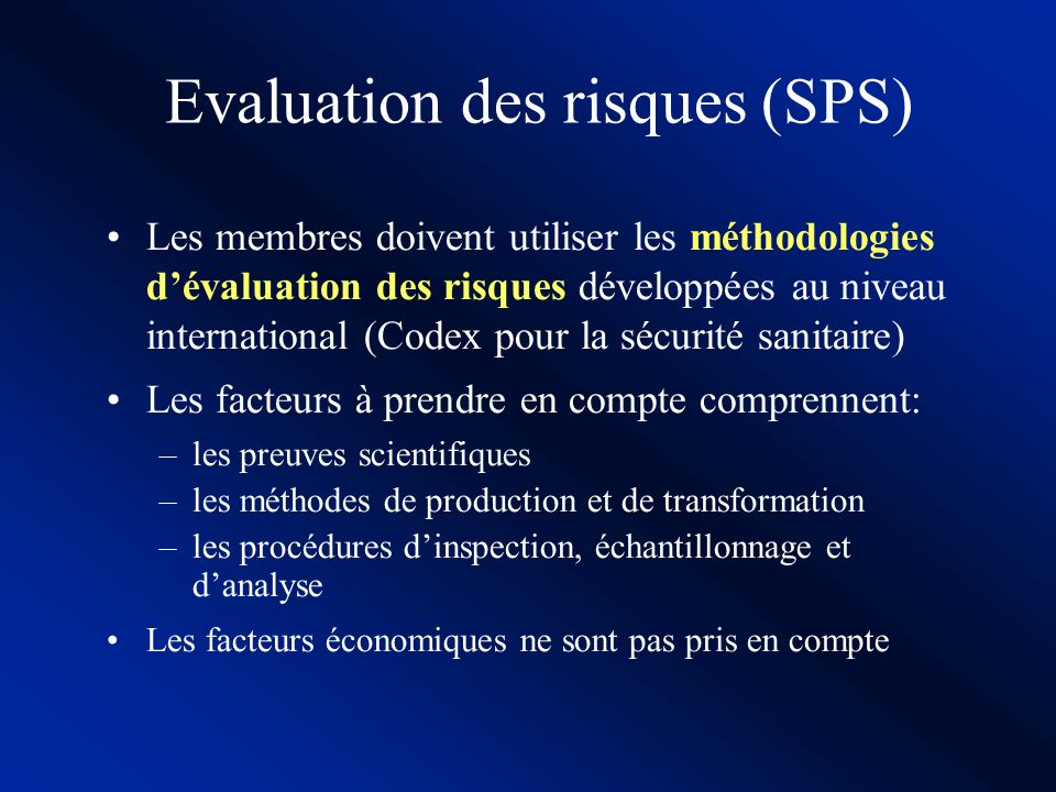 SPS et Codex Pour lAccord SPS, les normes Codex sont: La référence pour résoudre les différends dans le commerce international La référence pour harmo