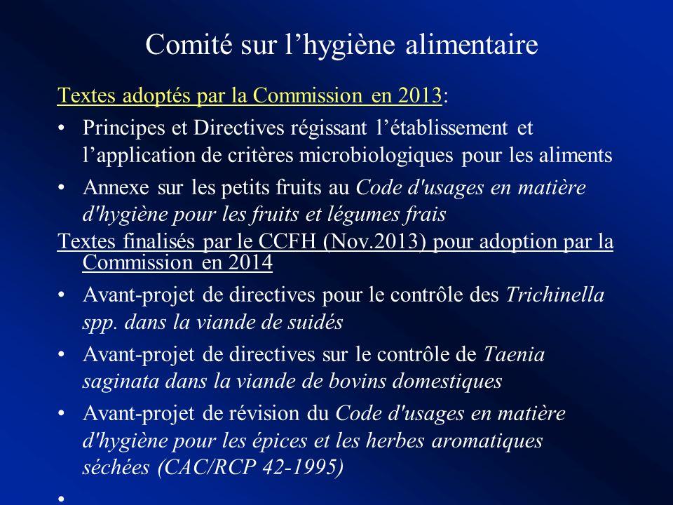 Hygiène alimentaire: Codes dusages Codes dusage en matière dhygiène pour: –Eaux potables en bouteilles (2001) –Transport des aliments en vrac (2001) –