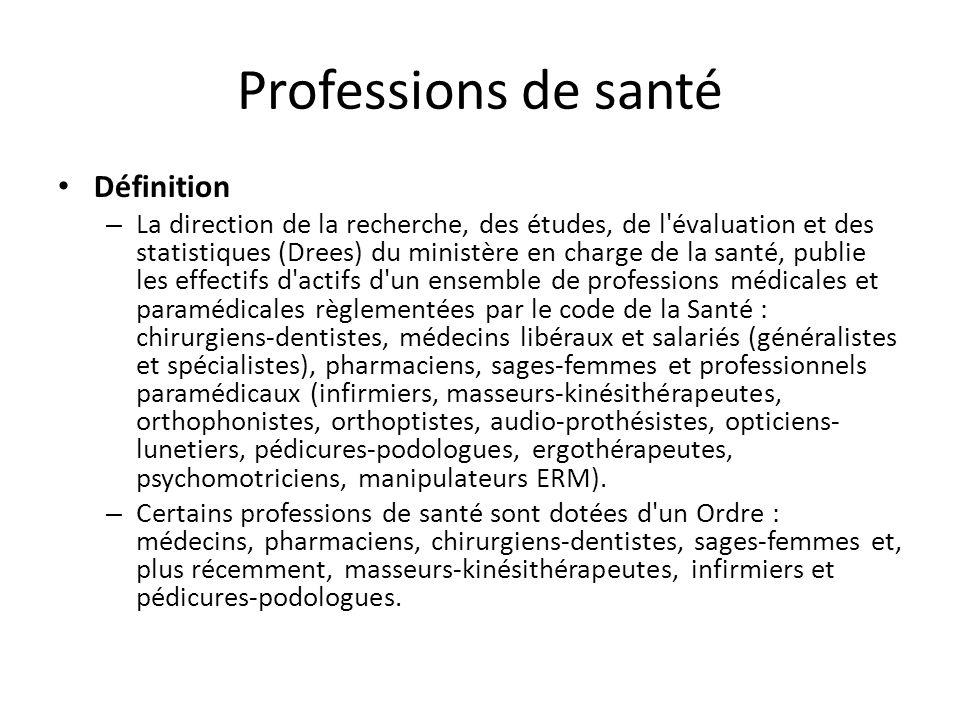 Professions de santé Définition – La direction de la recherche, des études, de l'évaluation et des statistiques (Drees) du ministère en charge de la s