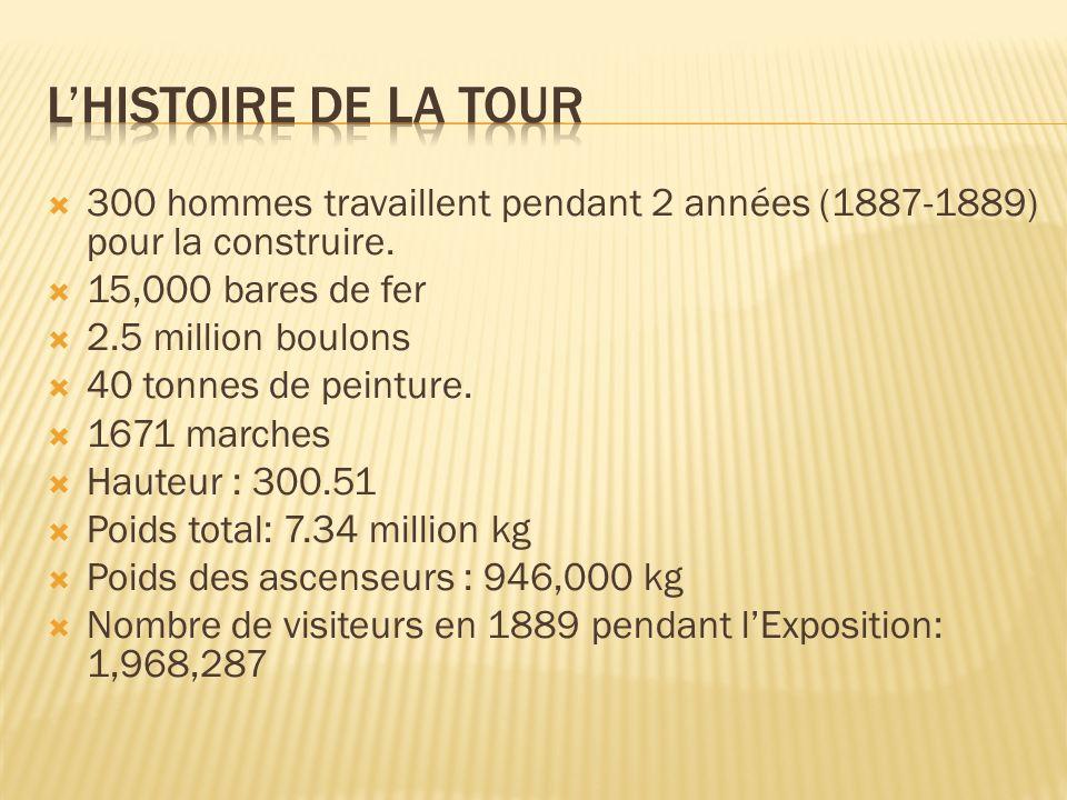 300 hommes travaillent pendant 2 années (1887-1889) pour la construire. 15,000 bares de fer 2.5 million boulons 40 tonnes de peinture. 1671 marches Ha
