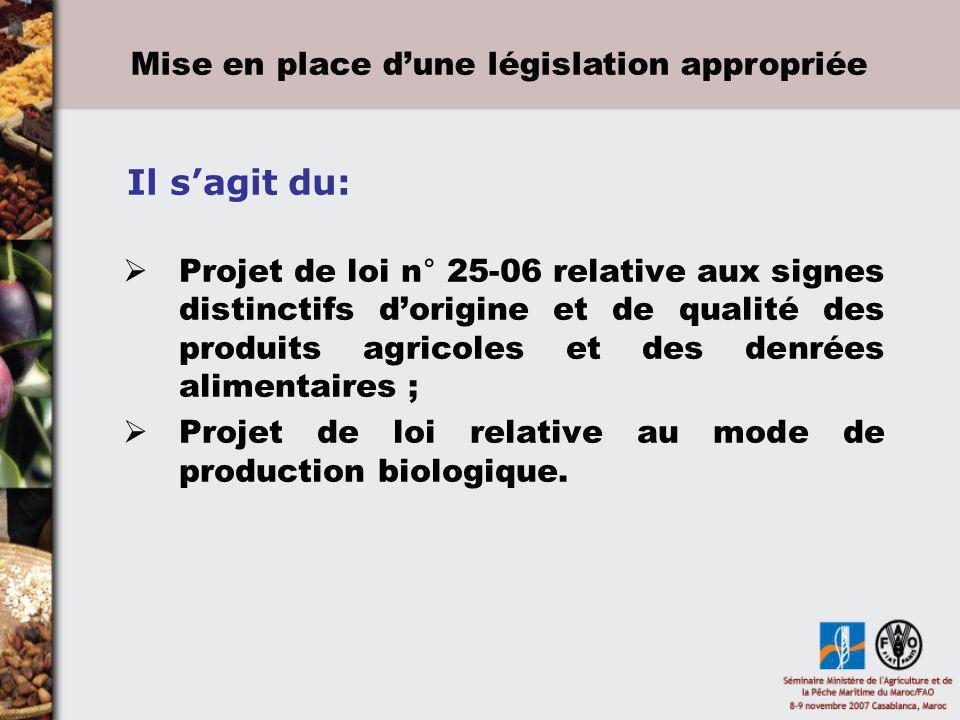 Projet de loi n° 25-06 relative aux signes distinctifs dorigine et de qualité des produits agricoles et des denrées alimentaires ; Projet de loi relat