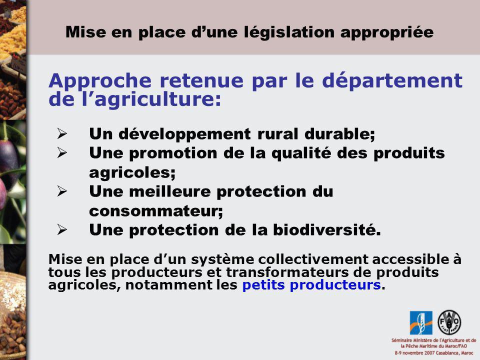 Approche retenue par le département de lagriculture: Un développement rural durable; Une promotion de la qualité des produits agricoles; Une meilleure