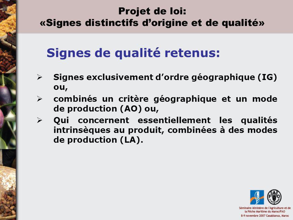 Signes exclusivement dordre géographique (IG) ou, combinés un critère géographique et un mode de production (AO) ou, Qui concernent essentiellement le