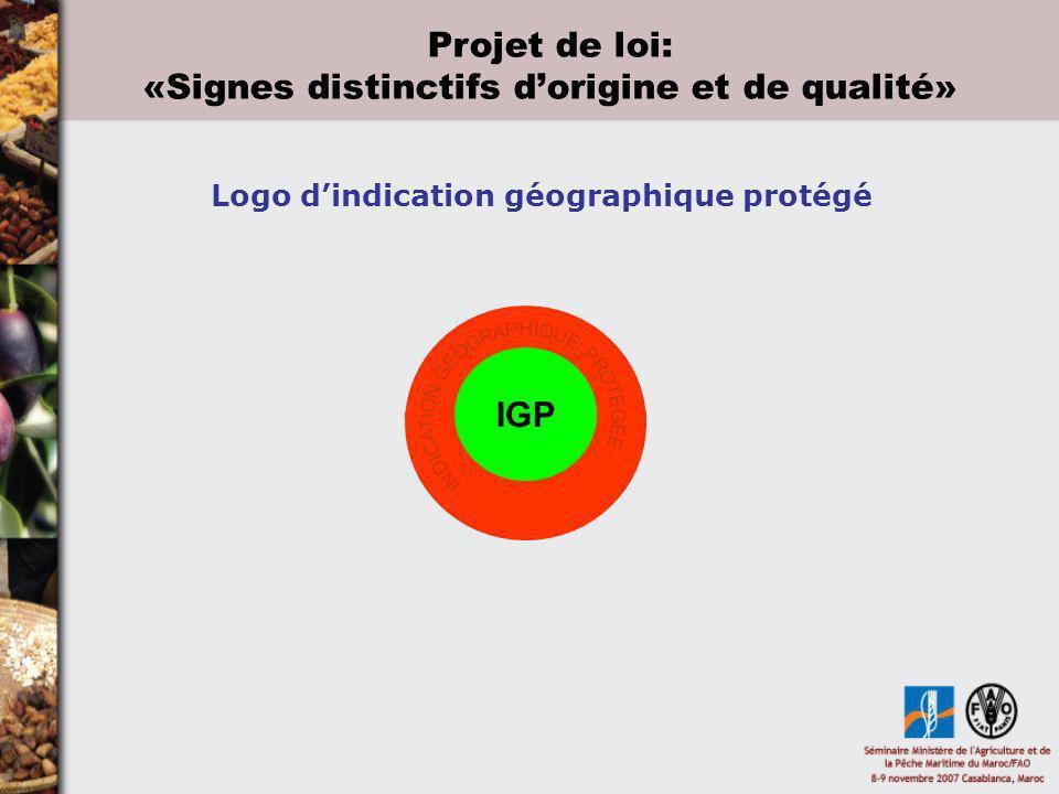 IGP Logo dindication géographique protégé Projet de loi: «Signes distinctifs dorigine et de qualité»