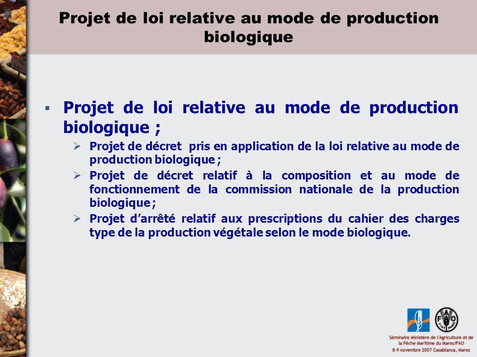Projet de loi relative au mode de production biologique Projet de loi relative au mode de production biologique ; Projet de décret pris en application