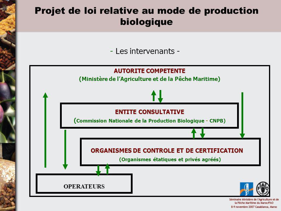 Projet de loi relative au mode de production biologique - Les intervenants - AUTORITE COMPETENTE (Ministère de lAgriculture et de la Pêche Maritime) E