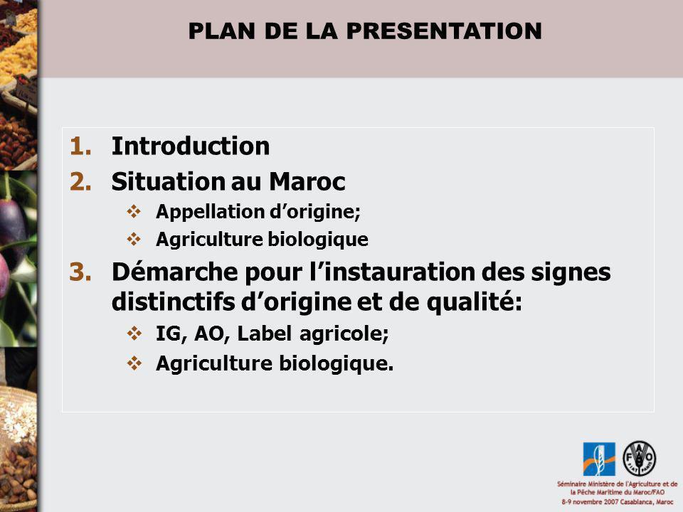 1.Introduction 2.Situation au Maroc Appellation dorigine; Agriculture biologique 3.Démarche pour linstauration des signes distinctifs dorigine et de q