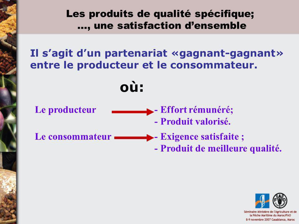 Les produits de qualité spécifique; …, une satisfaction densemble Le producteur- Effort rémunéré; - Produit valorisé. Le consommateur - Exigence satis