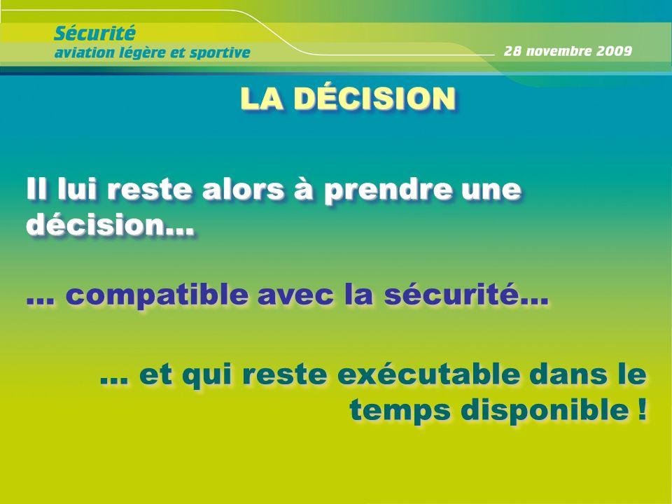 Il lui reste alors à prendre une décision… … compatible avec la sécurité… … et qui reste exécutable dans le temps disponible ! LA DÉCISION