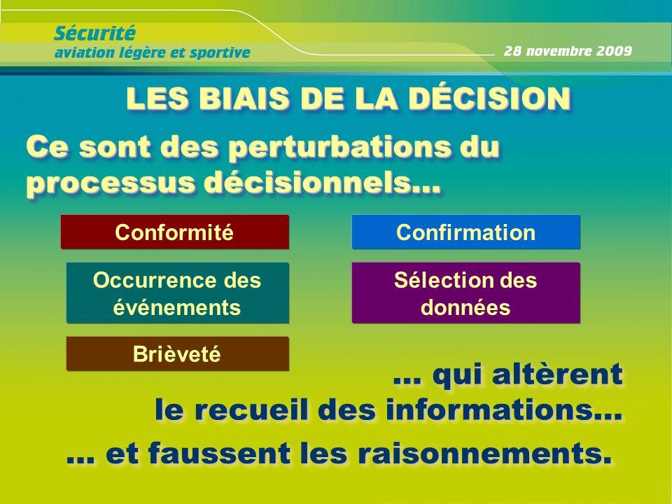 LES BIAIS DE LA DÉCISION LES BIAIS DE LA DÉCISION Ce sont des perturbations du processus décisionnels… … qui altèrent le recueil des informations… … q