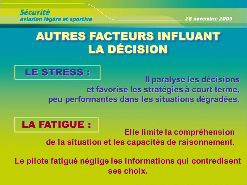 AUTRES FACTEURS INFLUANT LA DÉCISION AUTRES FACTEURS INFLUANT LA DÉCISION LE STRESS : Il paralyse les décisions et favorise les stratégies à court ter