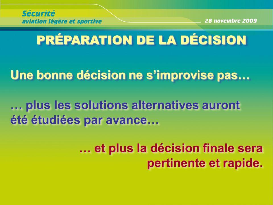 PRÉPARATION DE LA DÉCISION PRÉPARATION DE LA DÉCISION Une bonne décision ne simprovise pas… … plus les solutions alternatives auront été étudiées par