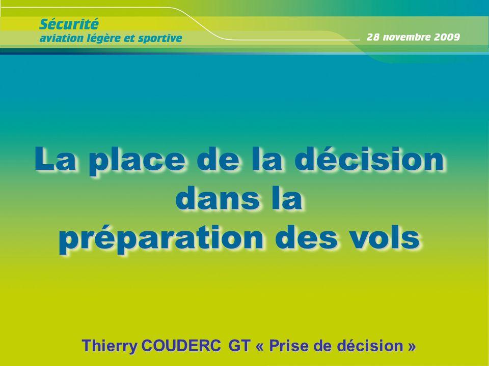 La place de la décision dans la préparation des vols La place de la décision dans la préparation des vols Thierry COUDERC GT « Prise de décision »