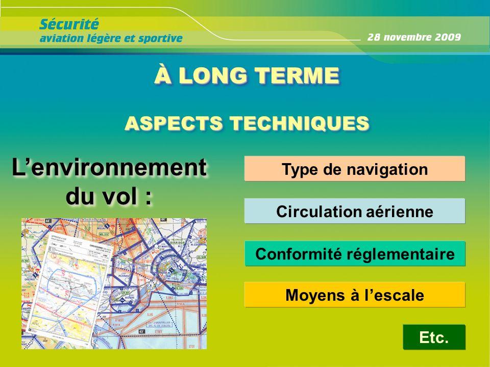 À LONG TERME ASPECTS TECHNIQUES Lenvironnement du vol : Type de navigation Circulation aérienne Conformité réglementaire Etc. Moyens à lescale