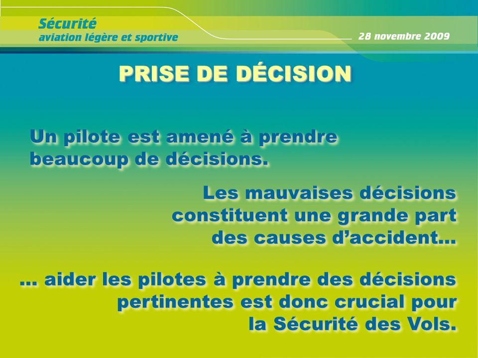 PRISE DE DÉCISION PRISE DE DÉCISION Un pilote est amené à prendre beaucoup de décisions. Les mauvaises décisions constituent une grande part des cause