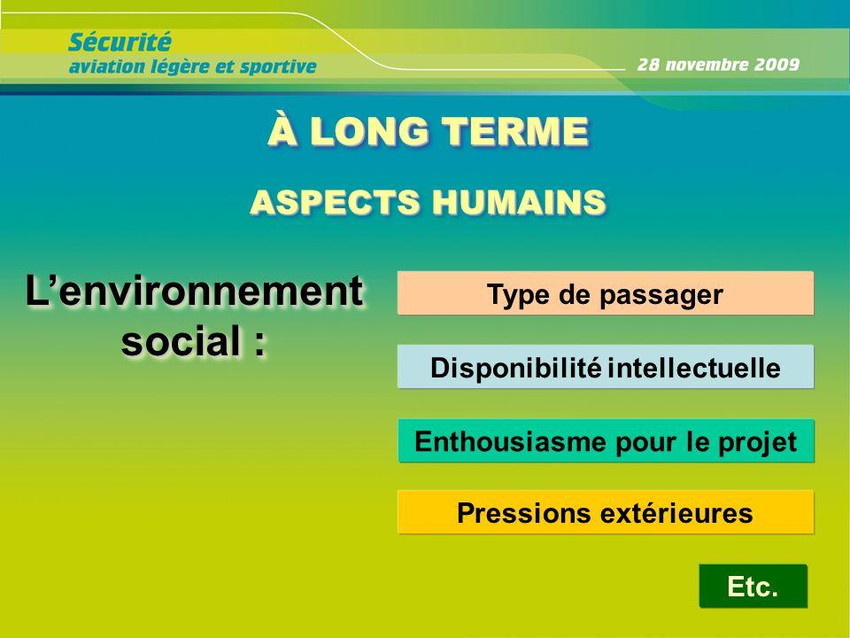 À LONG TERME ASPECTS HUMAINS ASPECTS HUMAINS Lenvironnement social : Type de passager Disponibilité intellectuelle Enthousiasme pour le projet Etc. Pr