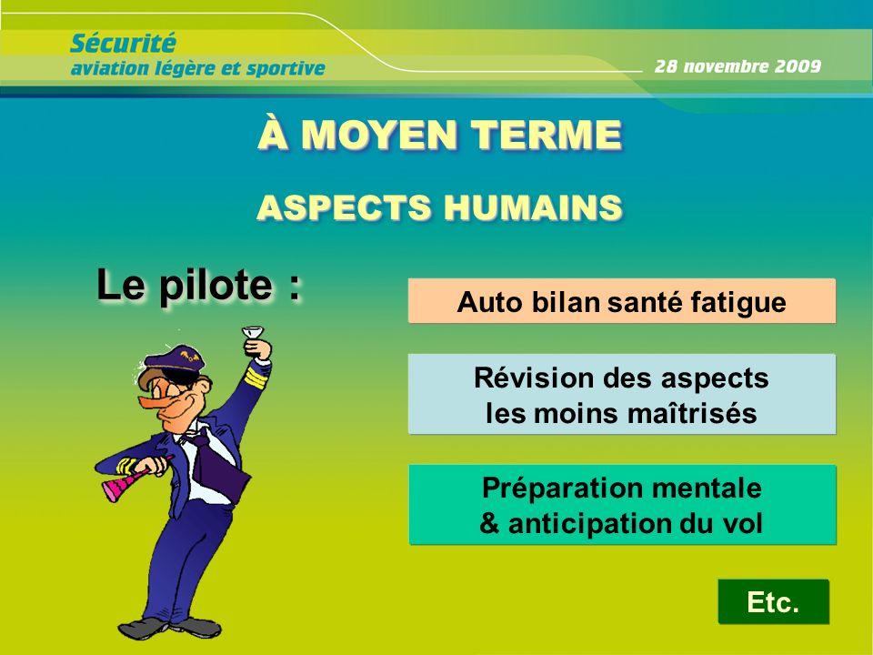 À MOYEN TERME ASPECTS HUMAINS ASPECTS HUMAINS Le pilote : Auto bilan santé fatigue Révision des aspects les moins maîtrisés Préparation mentale & anti