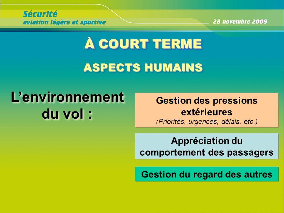 À COURT TERME ASPECTS HUMAINS ASPECTS HUMAINS Lenvironnement du vol : Gestion des pressions extérieures (Priorités, urgences, délais, etc.) Appréciati