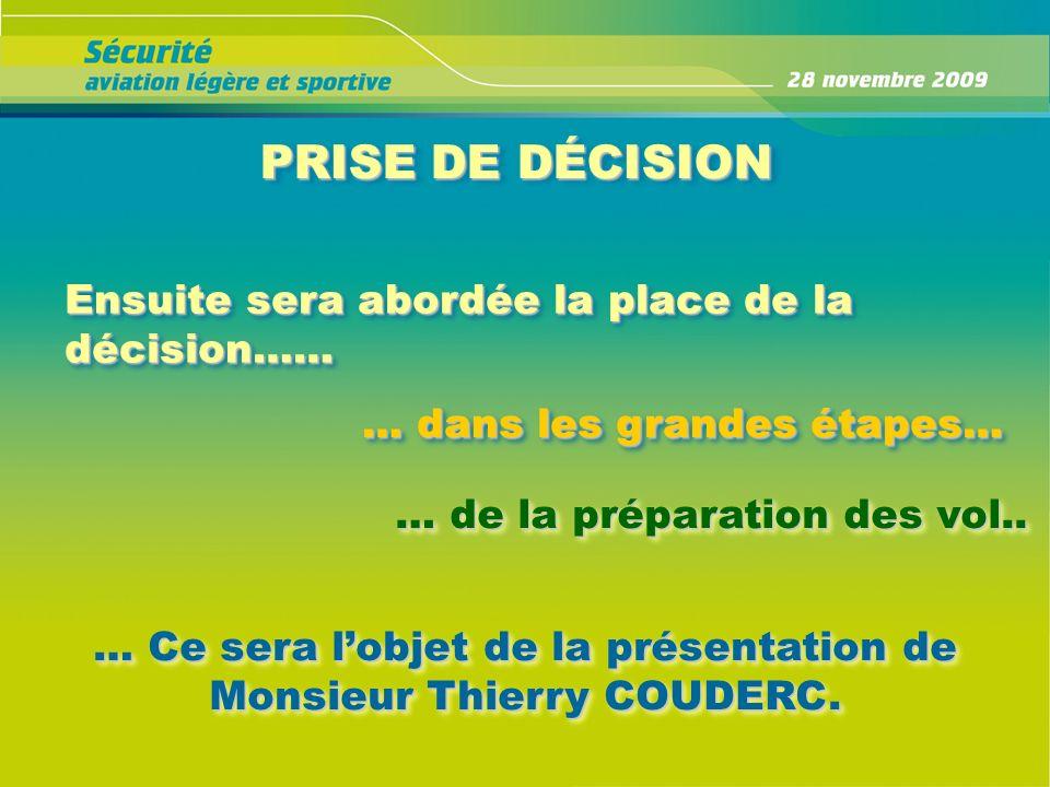 PRISE DE DÉCISION Ensuite sera abordée la place de la décision…… … dans les grandes étapes… … de la préparation des vol.. … Ce sera lobjet de la prése