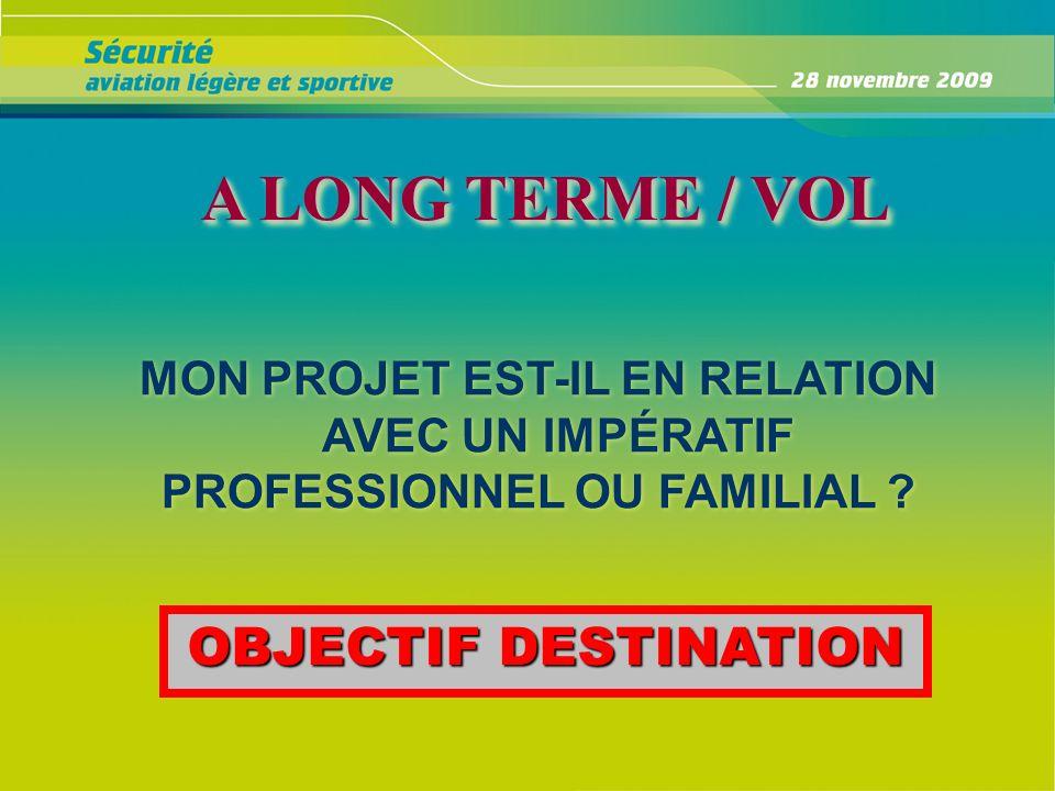 A LONG TERME / VOL A LONG TERME / VOL A LONG TERME / VOL MON PROJET EST-IL EN RELATION AVEC UN IMPÉRATIF PROFESSIONNEL OU FAMILIAL ? MON PROJET EST-IL