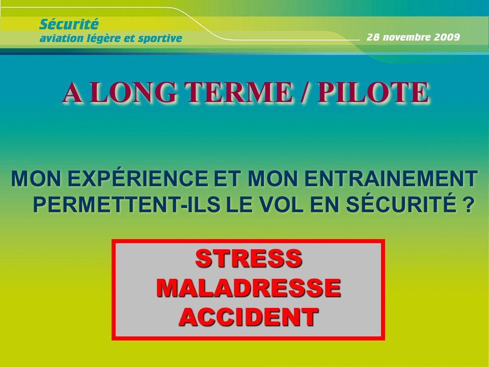 A LONG TERME / PILOTE A LONG TERME / PILOTE MON EXPÉRIENCE ET MON ENTRAINEMENT PERMETTENT-ILS LE VOL EN SÉCURITÉ ? STRESS MALADRESSE ACCIDENT