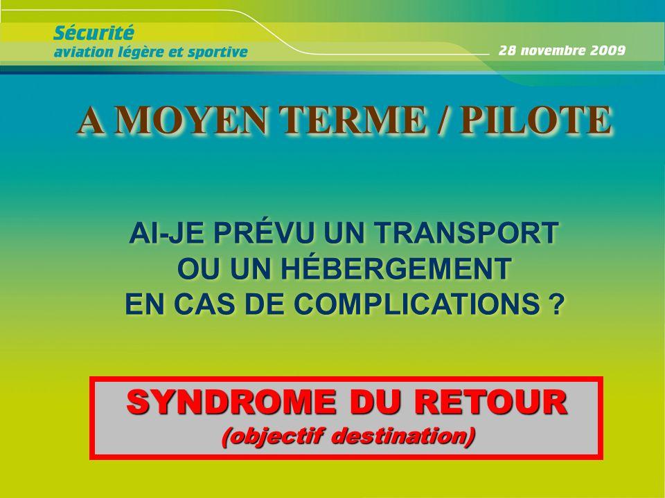 A MOYEN TERME / PILOTE A MOYEN TERME / PILOTE AI-JE PRÉVU UN TRANSPORT OU UN HÉBERGEMENT EN CAS DE COMPLICATIONS ? AI-JE PRÉVU UN TRANSPORT OU UN HÉBE