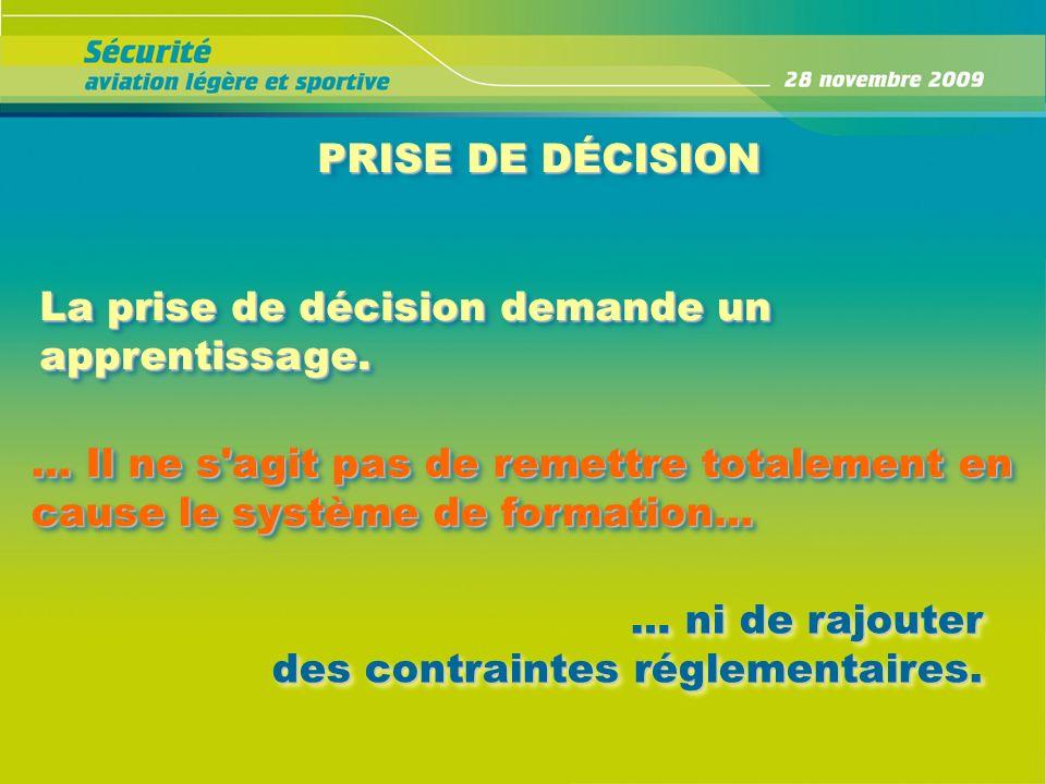 PRISE DE DÉCISION La prise de décision demande un apprentissage. … Il ne s'agit pas de remettre totalement en cause le système de formation… … ni de r