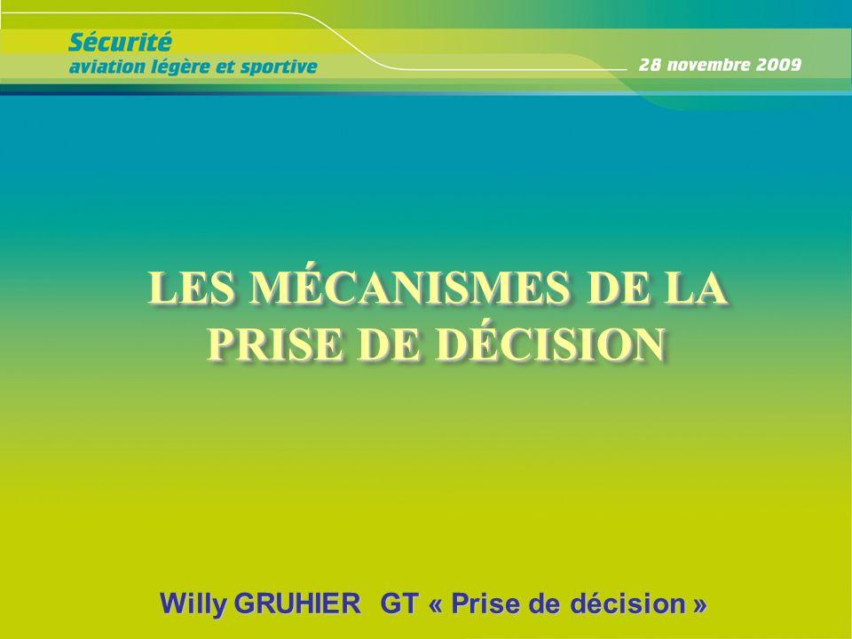 LES MÉCANISMES DE LA PRISE DE DÉCISION LES MÉCANISMES DE LA PRISE DE DÉCISION Willy GRUHIER GT « Prise de décision »
