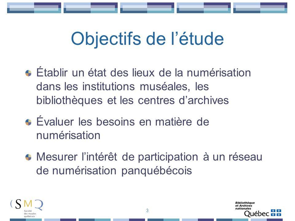 Objectifs de létude Établir un état des lieux de la numérisation dans les institutions muséales, les bibliothèques et les centres darchives Évaluer le