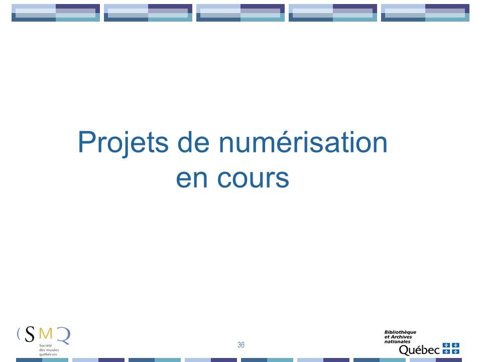 Projets de numérisation en cours 36